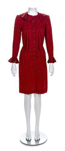 Nina Ricci Red Dress, 1980s Size label: 36
