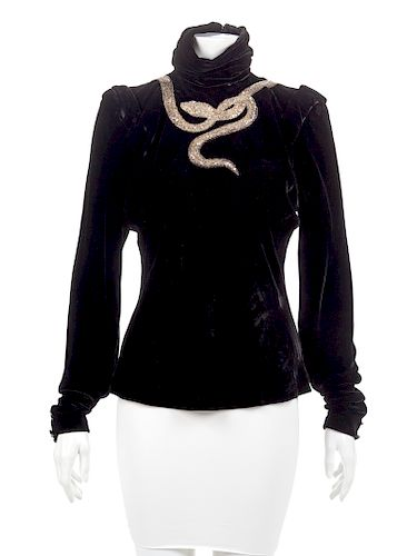 Emanuel Ungaro Haute Couture Blouse with Embellished Snake, 1980s