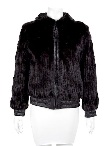 Black Leather and Mink Reversible Bomber Style Jacket,1990-2000's
