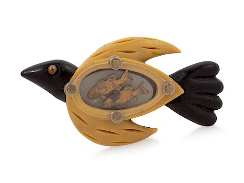 Techno-Romantic Bird Pin, 1990-2000s