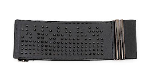 A Balmain Black Cutout Leather Belt, 1980-90s
