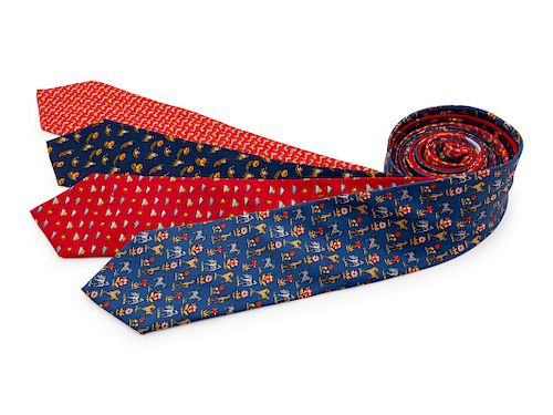 Four Salvatore Ferragamo Silk Ties,