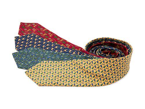 Four Salvatore Ferragamo Silk Ties, 1980-90s