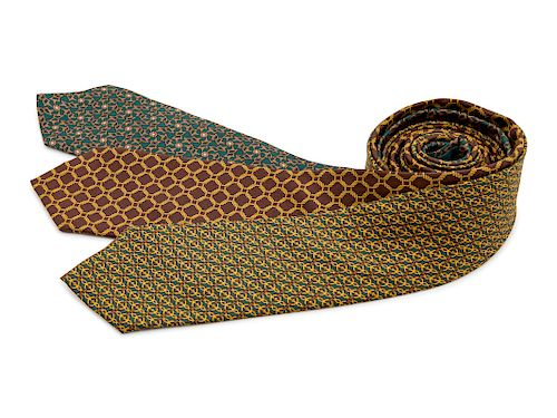 Three Hermes ties, two green, one brown