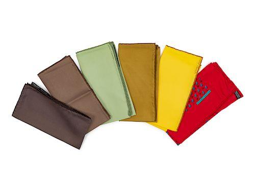 Six Hermes pocket scarves