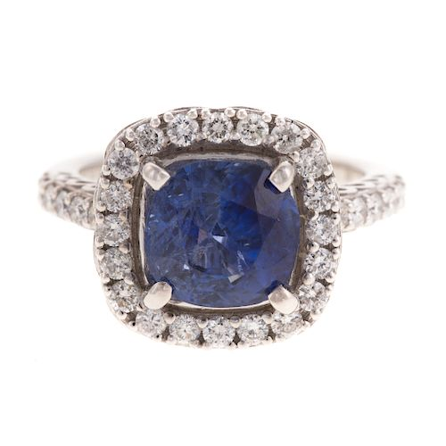 An Unheated Sapphire & Diamond Ring in 14K
