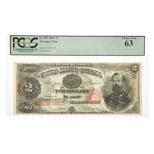 1891 $2 Treasury Note FR 357 PCGS-63 McPherson