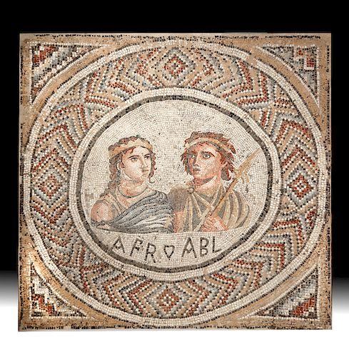 Large Roman Stone Mosaic - Regal Couple w/ Initials