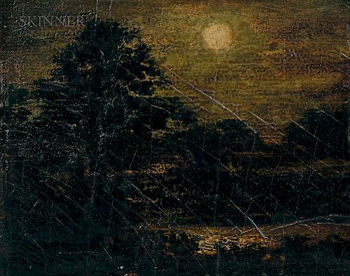 Attributed to Ralph Albert Blakelock (American, 1847-1919)  Moonlight Forest