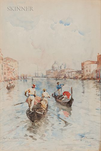 Paolo Sala (Italian, 1859-1924)  Gondole Veneziane