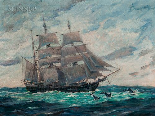 Clifford Ashley (American, 1881-1947)  Bark Canton Outward Bound from New Bedford