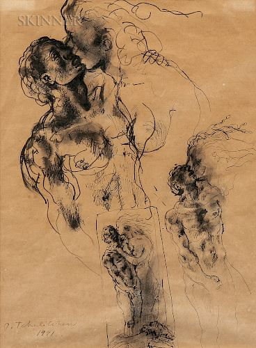 Pavel Tchelitchew (Russian/American, 1898-1957)  Studies of Lovers