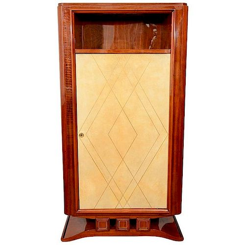 French Art Deco Exotic Wood Vellum Tall Cabinet