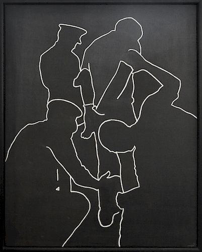 "Rafael Canogar ""El Cacheo"" Oil on Canvas"