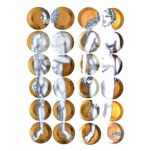 "Piero Fornasetti ""Adam and Eve"" Porcelain Plates"