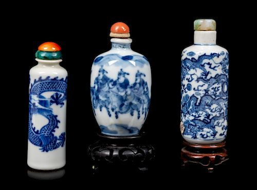 Three Blue and White Porcelain Snuff BottlesLargest: height 3 in., 8 cm.