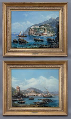 Pair of Giacinto Gigante oil on canvas paintings,