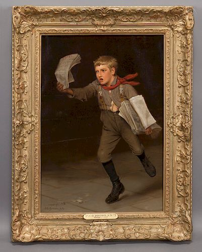 """John George Brown """"Extra"""" oil on canvas, 1907."""