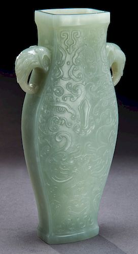 Chinese Qing Qianlong carved jade vase,