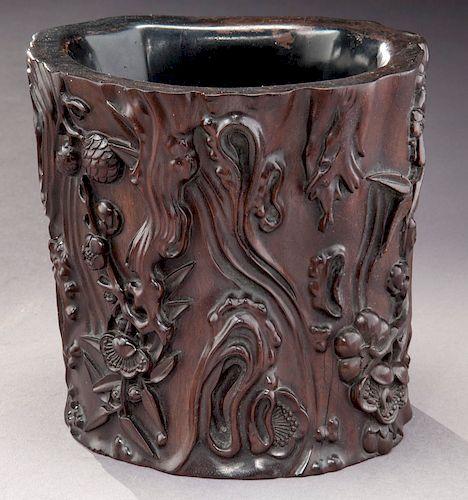 Chinese Qing carved Zitan brush pot,