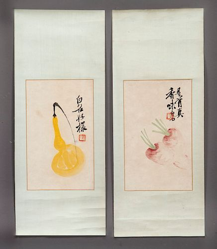 (2) Qi Bai Shi watercolor paintings,
