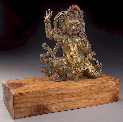 Chinese Tibetan gilt bronze Guru Dorje Drolo,