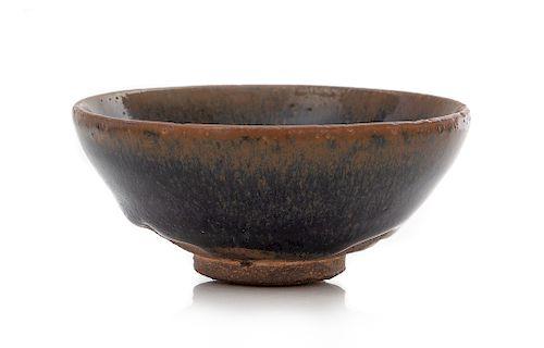 A Chinese 'Hare's Fur' Glazed Jian Tea Bowl Diam 3 5/8 in., 9.2 cm.