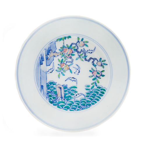 A Chinese Doucai Porcelain Dish Diameter 4 3/4 in., 12.1 cm.