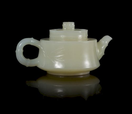 A Chinese White Jade 'Bamboo' Teapot Width 3 7/8 in., 9.8 cm.