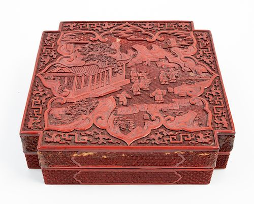 A Large Chinese Cinnabar Lacquer Square Box and Cover Length 10 5/8 in., 27 cm.