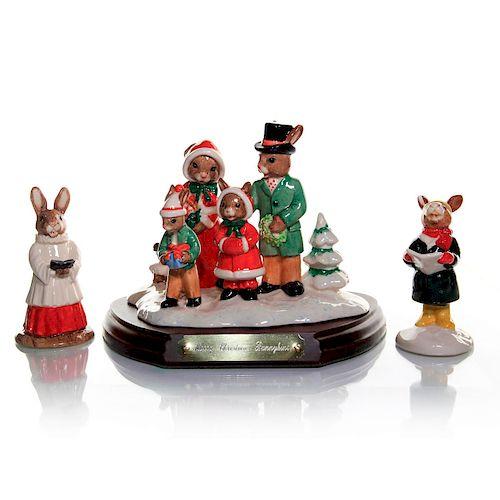Christmas Carol Singers Figurines.3 Royal Doulton Bunnykins Christmas Figurines