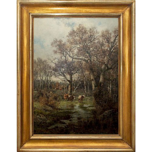 BARBIZON LANDSCAPE OIL PAINTING BY A.KAUFMANN