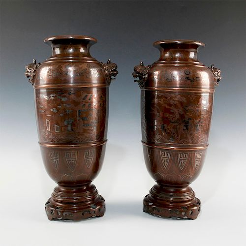 PAIR OF LARGE CHINESE SILVER INLAY METAL WORKS BRONZE VASES