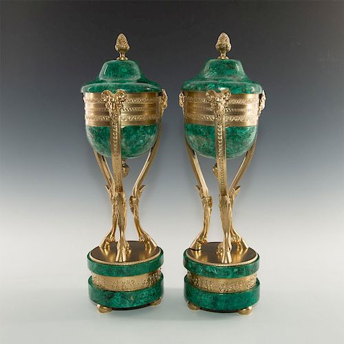 PAIR OF NEOCLASSICAL MALACHITE AND GILT MOUNT CENSERS