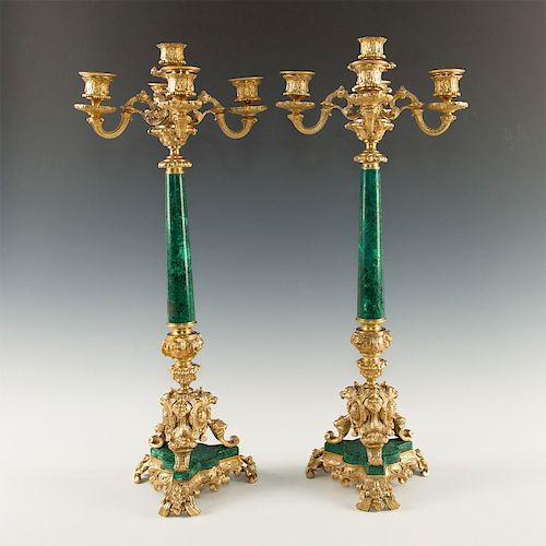 PAIR OF NEOCLASSICAL MALACHITE AND GILT AND CANDELABRAS