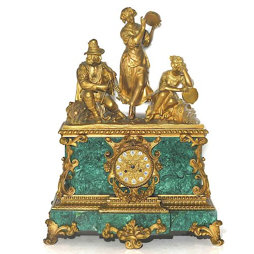 LOUIS XVI STYLE ORMOLU MALACHITE MANTEL CLOCK