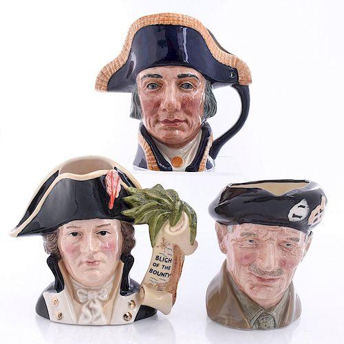 THREE LARGE ROYAL DOULTON MEN OF HISTORY CHARACTER JUGS