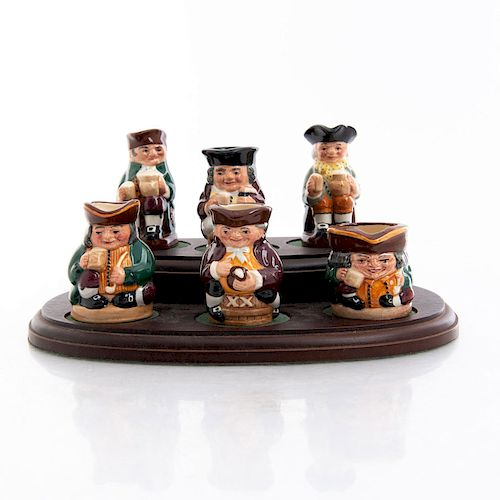 6 MINI ROYAL DOULTON TOBY CHARACTER JUGS AND STAND