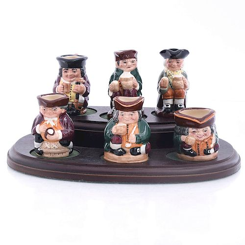SET OF 6 ROYAL DOULTON TINY TOBIES SET WITH STAND