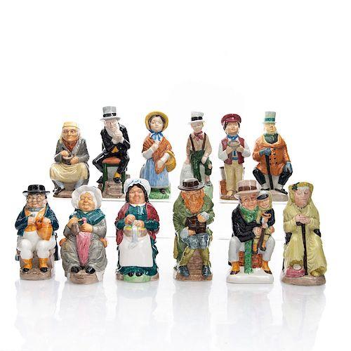 12 WOOD & SONS PORCELIAN CHARLES DICKENS TOBY JUGS