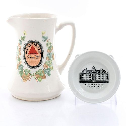 ADVERTISING WARE BASS ALE JUG, COBURG DISH