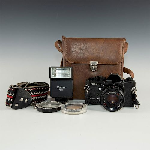 VINTAGE SEARS KS-1000 35MM SLR WITH CASE, FLASH