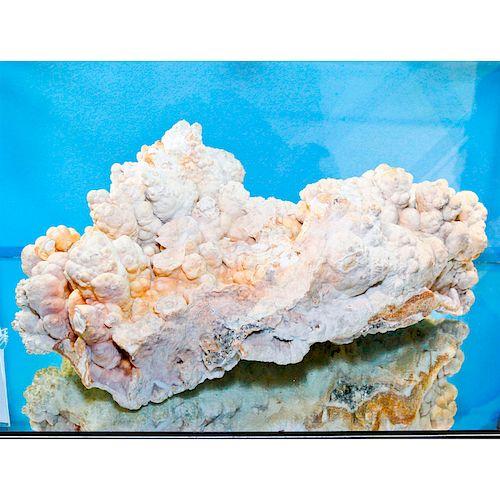 ARAGONITE CRYSTAL CLUSTER SPECIMEN, WHITE & PEACH