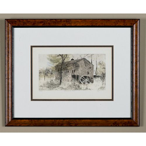 FRAMED WATERCOLOR, ABANDONED MILL