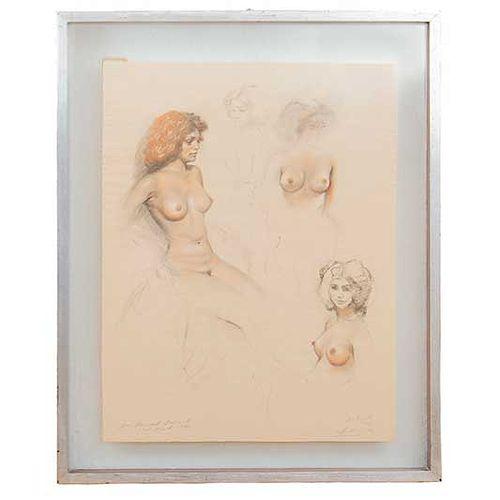 José Manuel Schmill Ordóñez. Retratos y bocetos. Firmado y fechado 1978. Carboncillo sobre papel. Enmarcado. 54 x 43 cm.