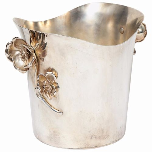 """Christofle Paris Silver Plated """"Anemone"""" Champagne Bucket / Wine Cooler"""