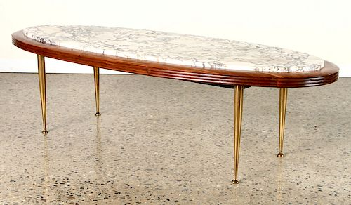 ELEGANT MAHOGANY MARBLE BRASS OVAL COFFEE TABLE