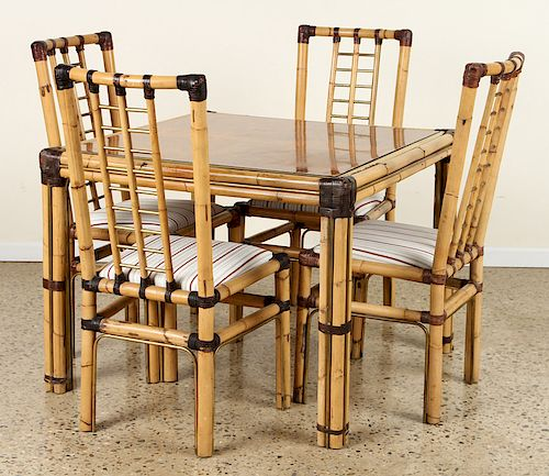 FRENCH BAMBOO TABLE AND FOUR CHAIRS BRASS DETAILS