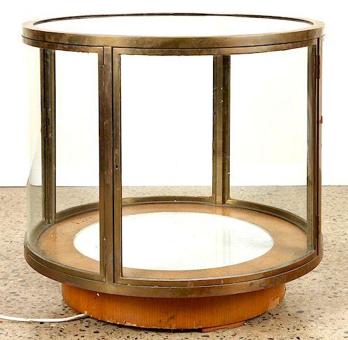 GLASS FOUR DOOR CIRCULAR DISPLAY CASE C.1960