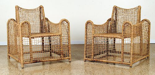 UNUSUAL PAIR OF FRENCH ROPE CHAIRS C.1980